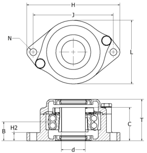 Extreme Bearing EXR Lagergehäuse Skizze